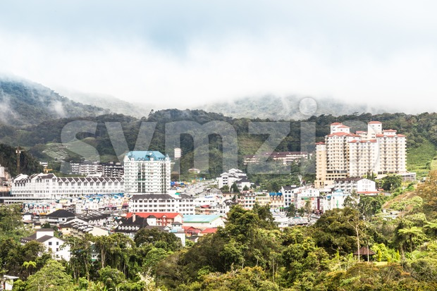 iew of Brinchang town, Cameron Highlands on a serene morning Stock Photo
