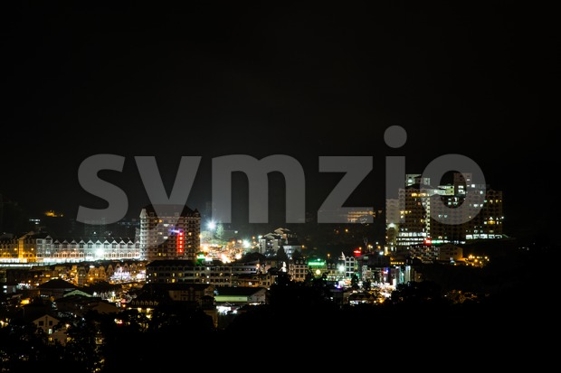 View of Brinchang town of Cameron Highlands at night Stock Photo