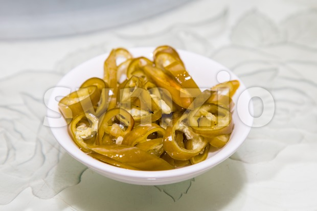 Green Chili, a condiment that goes along with Chinese dish especially noodles Stock Photo