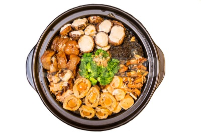Chinese styled Abalone mixed dish. Also known as Poon Choy in Chinese Stock Photo