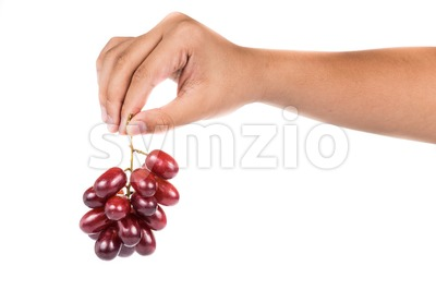 Fingers holding a bunch of sweet and juicy crimson red grapes Stock Photo