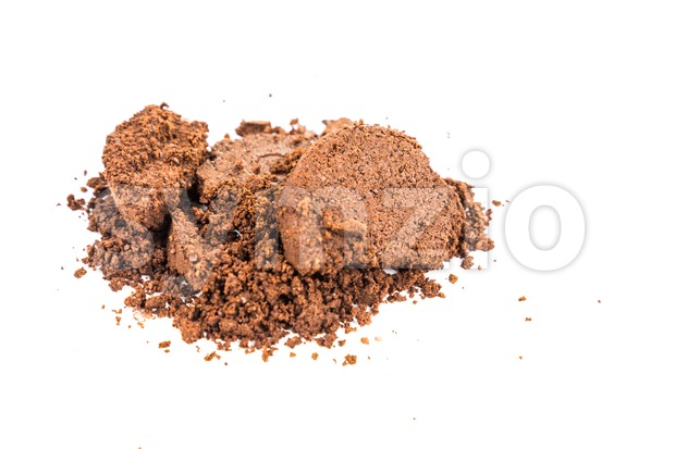 Spent or used coffee grounds in white background Stock Photo