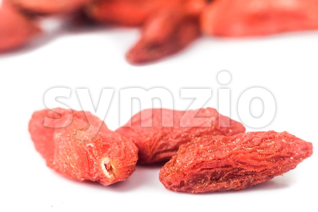 Close up and selective focus on the dried Wolfberry or Goji at the foreground Stock Photo