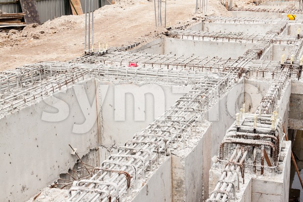 Building foundation being constructed at construction site Stock Photo