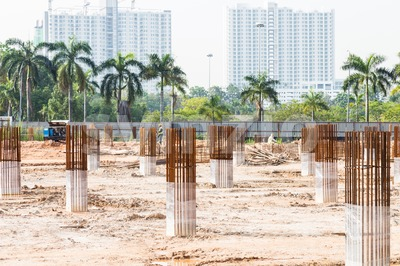 Construction site foundation pillars and columns Stock Photo