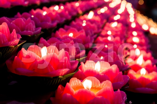 Lotus shaped candle lights used in Buddhist temple illuminate a dark surrounding