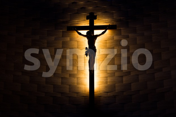 Crucifix of the Catholic faith in silhouette Stock Photo