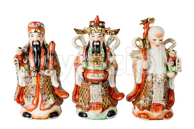Chinese God of Fortune, Prosperity and Longevity figurine Stock Photo