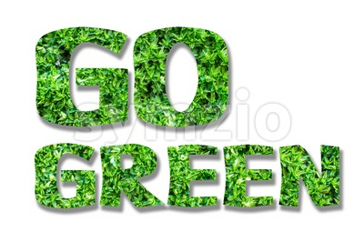 GO GREEN concept with natural mossy fill Stock Photo
