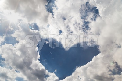 Heart shaped sky due to cloud formation Stock Photo