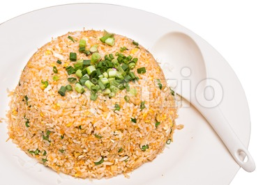 Chinese style fried rice with shallot as dressing Stock Photo