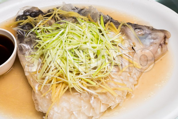 Freshly steamed Empurau Fish with soy sauce, Chinese Style Stock Photo