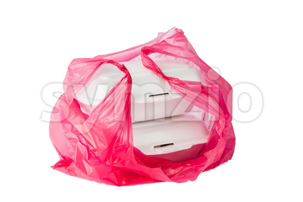 Styrofoam Lunch Boxes and plastic bag are convenient but not environmental friendly Stock Photo