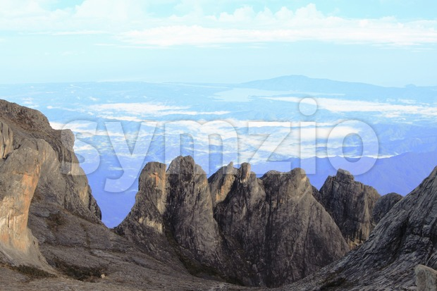 Unique vertical rock formation on the summit of Mount Kinabalu, Sabah Stock Photo
