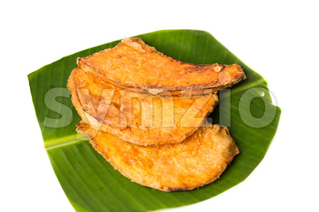 A serving of fried sweet potatoes (keledek goreng), a popular snack in Malaysia, Singapore, Indonesia and Thailand Stock Photo