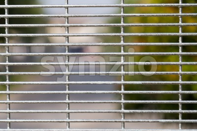 BRC Fence with de-focused residential background Stock Photo