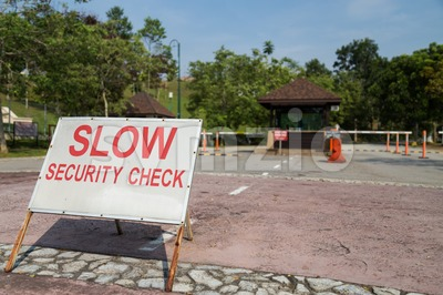 Security check point of a residential housing area Stock Photo