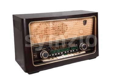 Old vintage radio that is able to receive worldwide transmission over short wave. Stock Photo