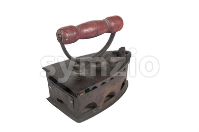 Old vintage iron that is powered by coal or charcoal Stock Photo