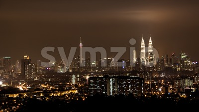Kuala Lumpur skyline profile at night Stock Photo