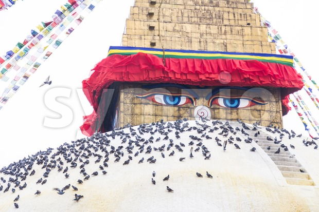 Boudhanath Stupa, one of the largest spherical stupas in Nepal Stock Photo