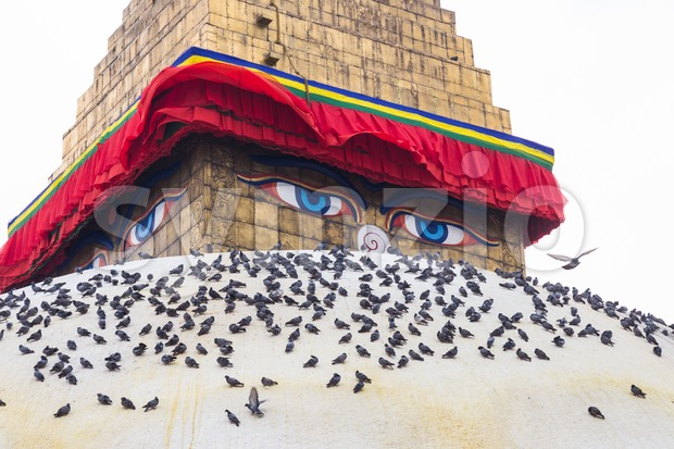Closeup on Boudhanath Stupa, one of the largest spherical stupas in Nepal and is a popular tourist attraction