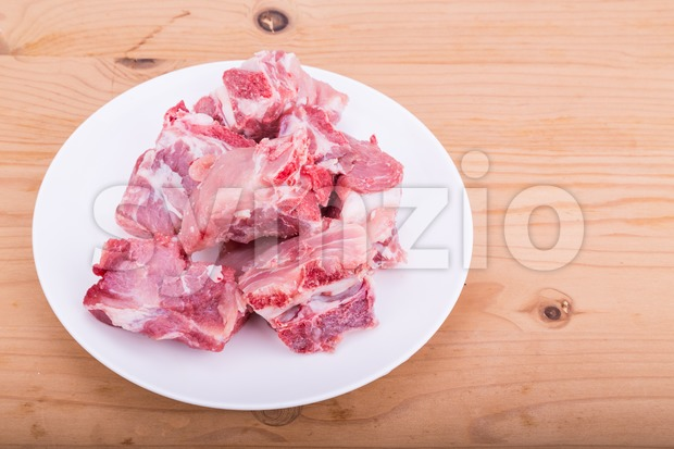 Raw fresh pork bones, a common ingredients in Chinese cooking Stock Photo
