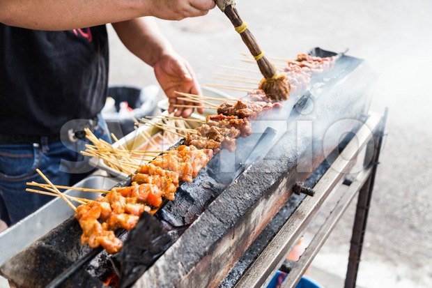 Vendor preparing delicious barbecue chicken and beef satay on charcoal grille with shallow focus on center skewers