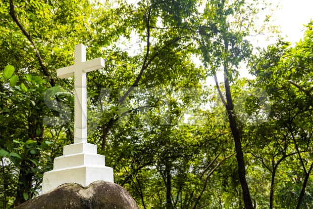 White Christian cross crucifix structure stationed within greenery nature setting