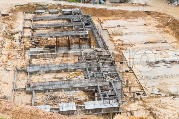 Overview of foundation work at construction site Stock Photo