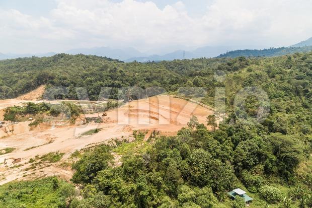 Aerial view of tropical jungle clearing for development Stock Photo