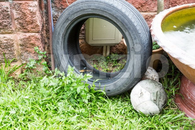 Used tyres potentially store stagnant water and mosquitoes breeding ground Stock Photo