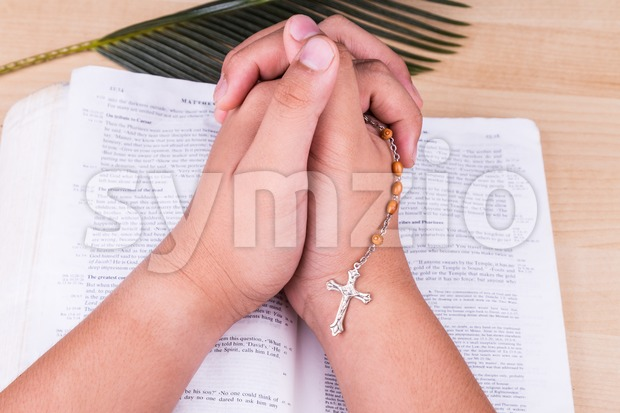 Reciting prayers using Catholic rosary with crucifix and bible Stock Photo