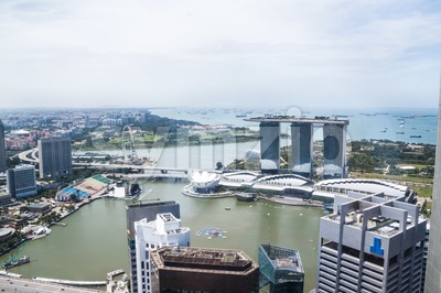 Aerial view of Singapore Marina Bay Stock Photo