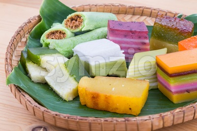 Clsoeup on Malaysia popular assorted sweet dessert kuih kueh Stock Photo