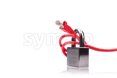 Concept of computer network security with padlock over network cable Stock Photo