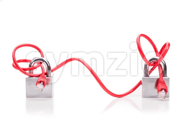 Conceptual computer network security with end to end cable padlock Stock Photo