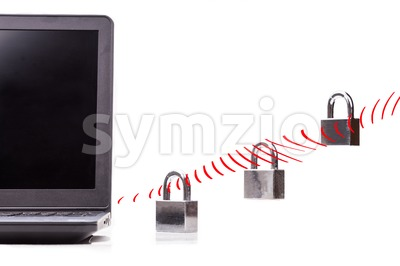 Concept of computer network security with padlock over WIFI waves Stock Photo