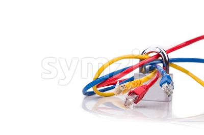Concept of network security with padlock over multiple network cables Stock Photo
