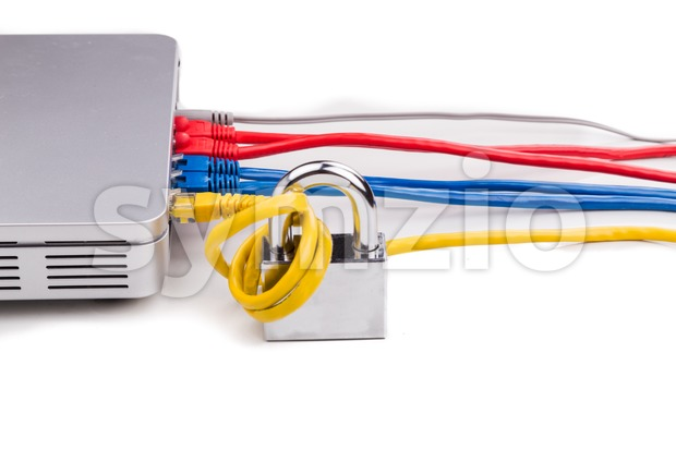 Concept of network security with padlock over router cable Stock Photo