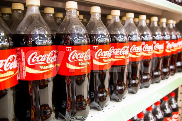 KUALA LUMPUR, MALAYSIA, April 16, 2016: Coca Cola maintain its leadership position in the Malaysia cola soft-drink market, according to latest retail  Stock Photo