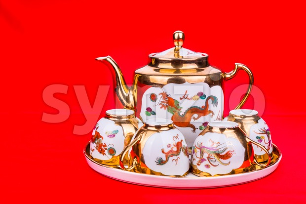 Generic traditional Chinese tea set used in wedding tea ceremony Stock Photo
