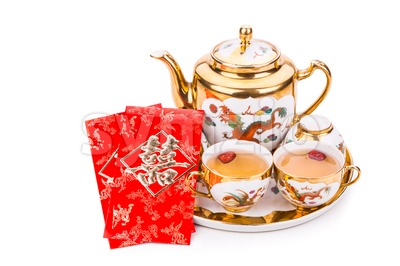 Chinese tea set with envelope bearing the word double happiness Stock Photo