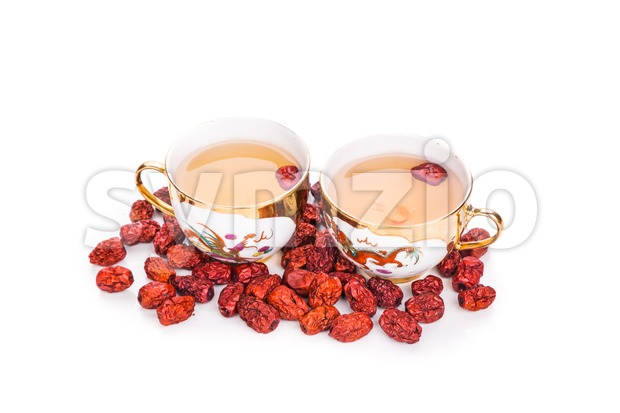 Red dates tea served in traditional Chinese tea cups Stock Photo
