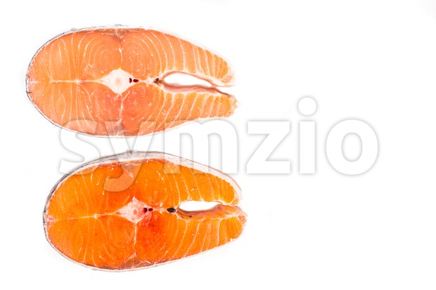 Comparison between wild and farmed salmon blocks on white background Stock Photo