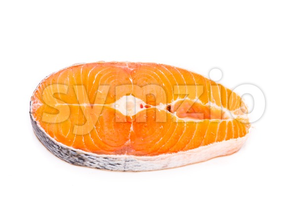 Freshly cut cross-section block of salmon on white background