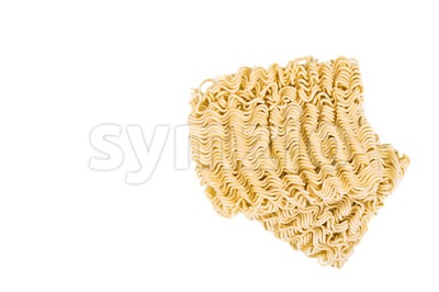 Uncooked instant noodles on white background Stock Photo