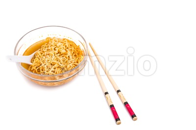 Bowl of convenient but unhealthy instant noodle with flavored soup Stock Photo