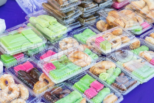 Assorted Malay halal cakes and sweet food being sold at street stall