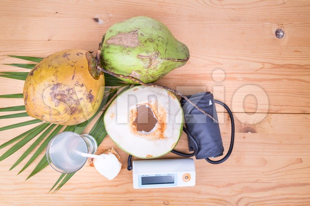 Fresh coconut juice helps to lower blood pressure, hypertension, blood cholesterol and reduce risk of heart attack